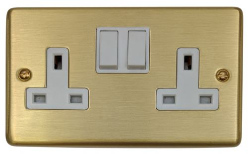 G&H CSB10W Standard Plate Satin Brushed Brass 2 Gang Double 13A Switched Plug Socket